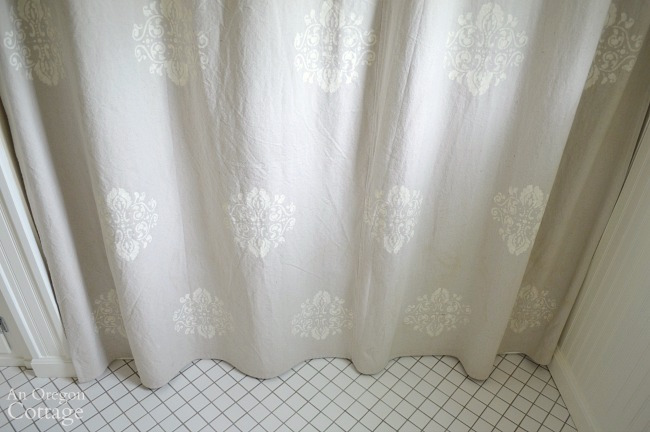 Update your bath with a Stenciled Drop Cloth Shower Curtain
