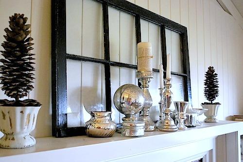 Mercury Glass Winter Mantel
