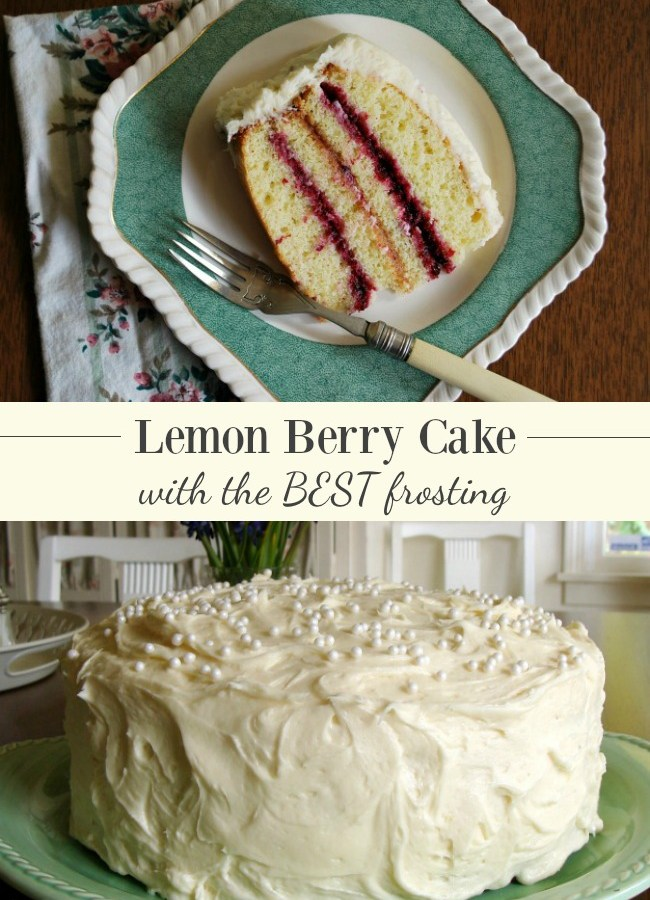 Springtime Lemon Berry Cake with the BEST lemon frosting ever.
