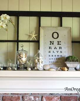 Eye-Chart & Nature Summer Mantel