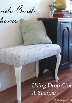 French Bench Makeover {Using Drop Cloth And A Sharpie}