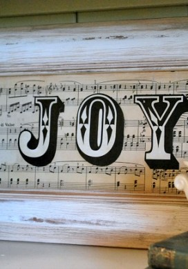 "Vintage Sheet Music ""Joy"" Sign"