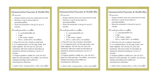 Cinnamon Oat Pancake & Waffle Mix Printable Labels