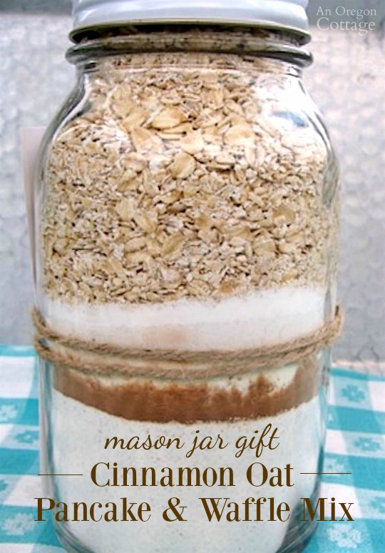 This fun and easy mason jar gift of cinnamon oat pancake-waffle mix makes a great homemade present when combined with syrup - but plan to keep some yourself because this is SO good.