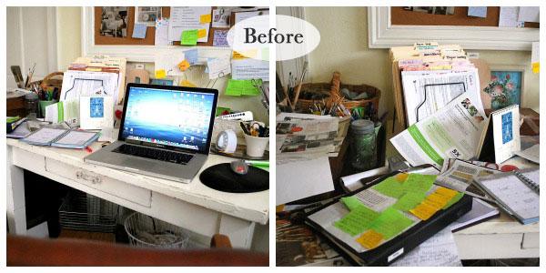 messy desk before an oregon cottage - Work Desk Organization Ideas