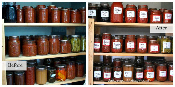 Organized Canning Jars Before-and-After - An Oregon Cottage