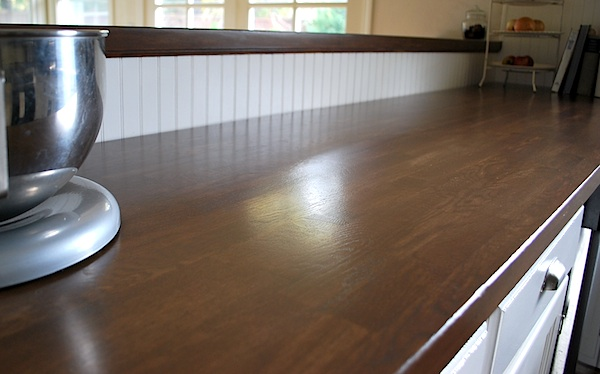 Dark stained Ikea wood counters