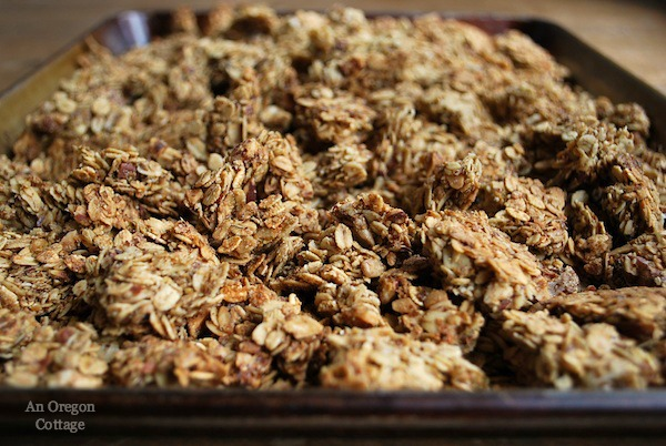Quick & Easy Granola Bark - a lower sugar option sweetened with just maple syrup and honey.