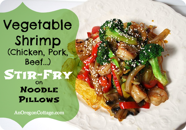Stir-Fry on Noodle Pillows