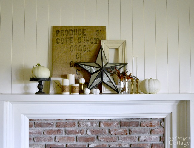 Burlap Gold White Iron Fall Mantel