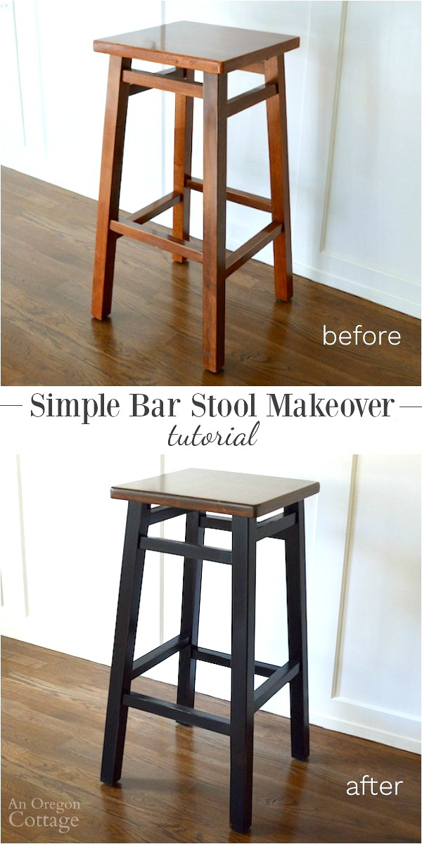 Makeover $20 bar stools with stain, paint and this tutorial. The before and after is worth it.