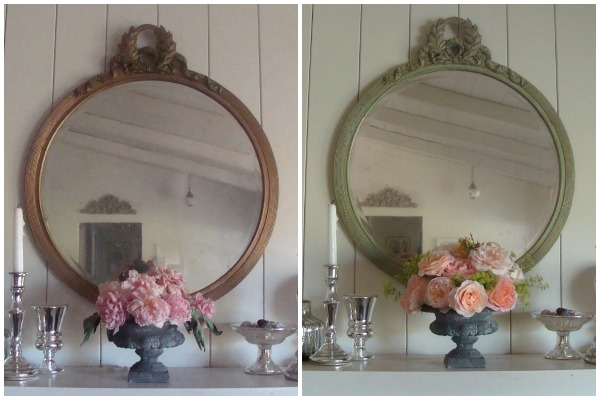 Round Vintage Mirror Before-After :: An Oregon Cottage