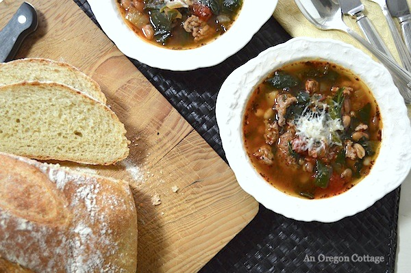 Slow Cooker Sausage- Bean Soup with Tomatoes and Spinach- An Oregon Cottage