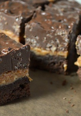 Crunchy Layered Peanut Butter Brownies