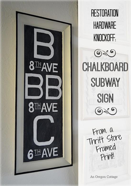 Diy Chalkboard Subway Sign {a Restoration Hardware Knockoff}