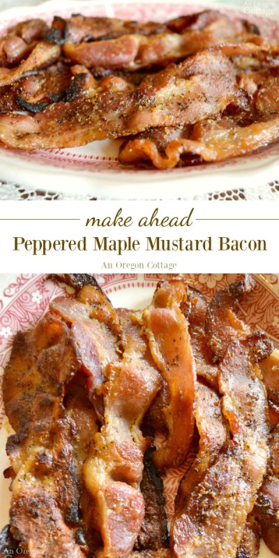 A special and delicious accompaniment for breakfast and brunch, peppered maple mustard bacon is prepped the night before and heated in the morning.