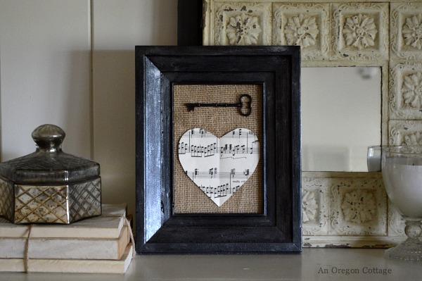 Vintage Valentine Mantel - Burlap Key to My Heart - An Oregon Cottage