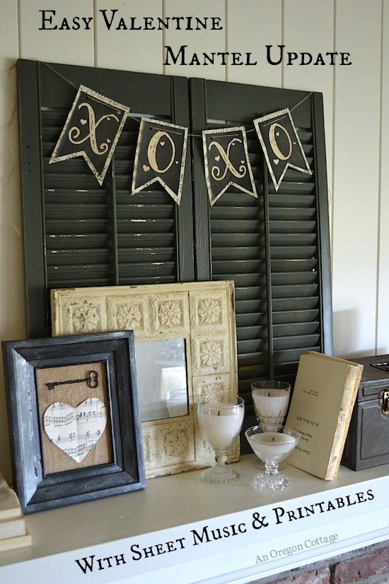 Vintage Valentine Mantel Update with Sheet Music & Printables - An Oregon Cottage