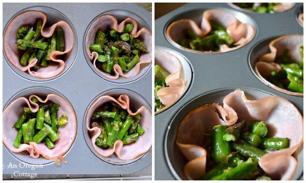 Asparagus in Ham Cups - Asparagus & Ham Egg Cups - An Oregon Cottage