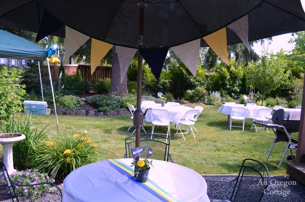 Chalkboard Grad Party Tables and Scrap Fabric School Color Bunting - An Oregon Cottage