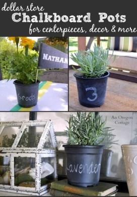 Dollar Store Chalkboard Pots