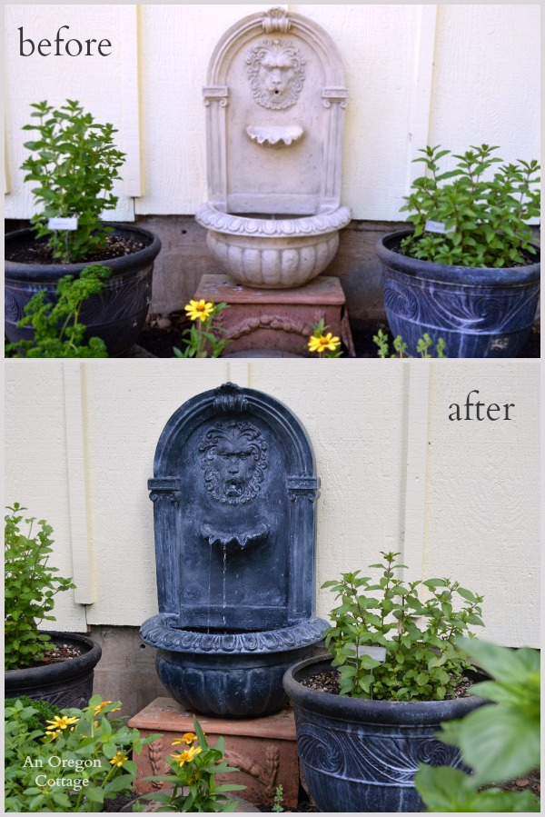 DIY Aged Plastic Fountain Before and After - An Oregon Cottage