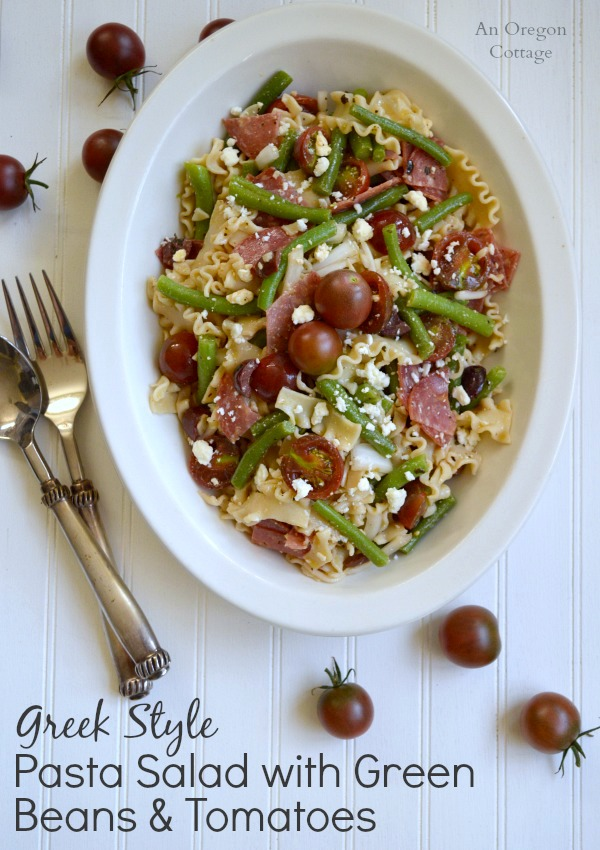 Greek Style Pasta Salad with Green Bean and Tomatoes - An Oregon Cottage