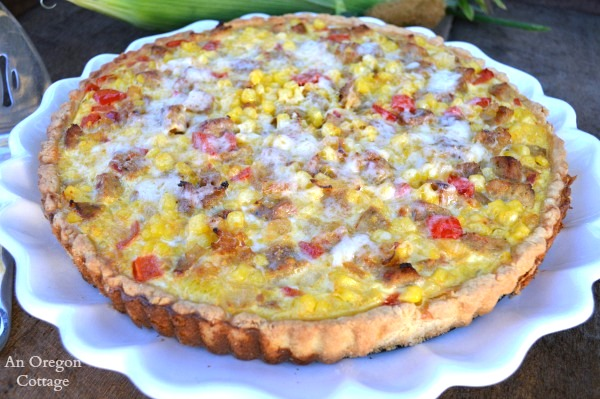 Simple Corn and Sausage Tart - An Oregon Cottage