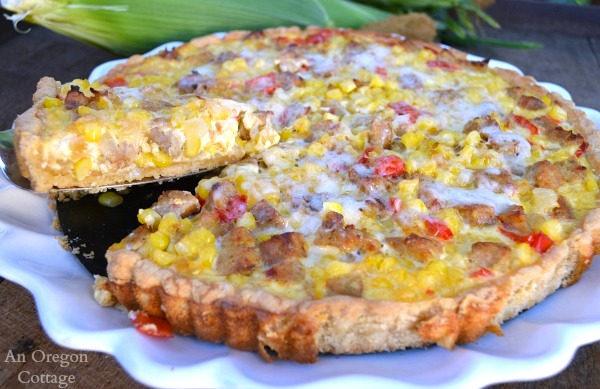 Simple Sausage and Corn Tart with Press-In Crust - An Oregon Cottage