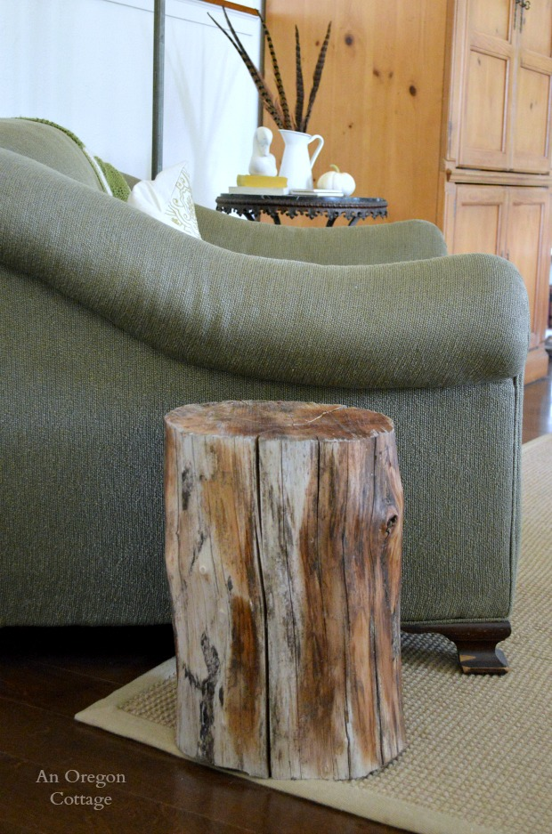 DIY Wood Stump Side Table - An Oregon Cottage