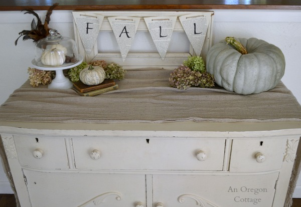 Fall 2014 Sideboard - Cinderella Pumpkin-Hydrangeas-Book Page Banner - An Oregon Cottage