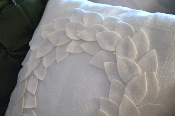 Felt Leaf and Pearl Wreath Pillow