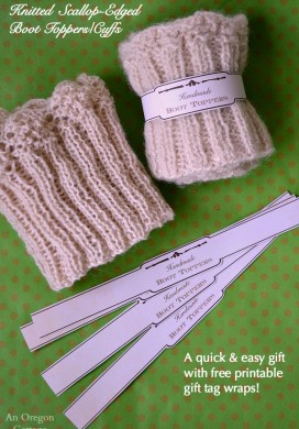 Knitted Scallop Edged Boot Toppers {+ Free Printable Gift Labels!}