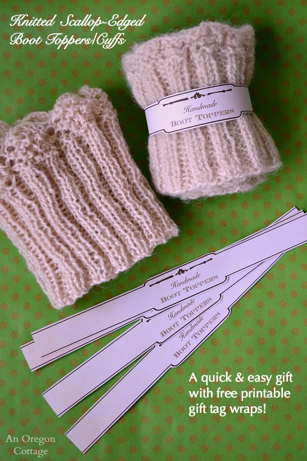 Knitted Pouffe Patterns : Knitted Scallop Edged Boot Toppers {+ Free Printable Gift Labels!}