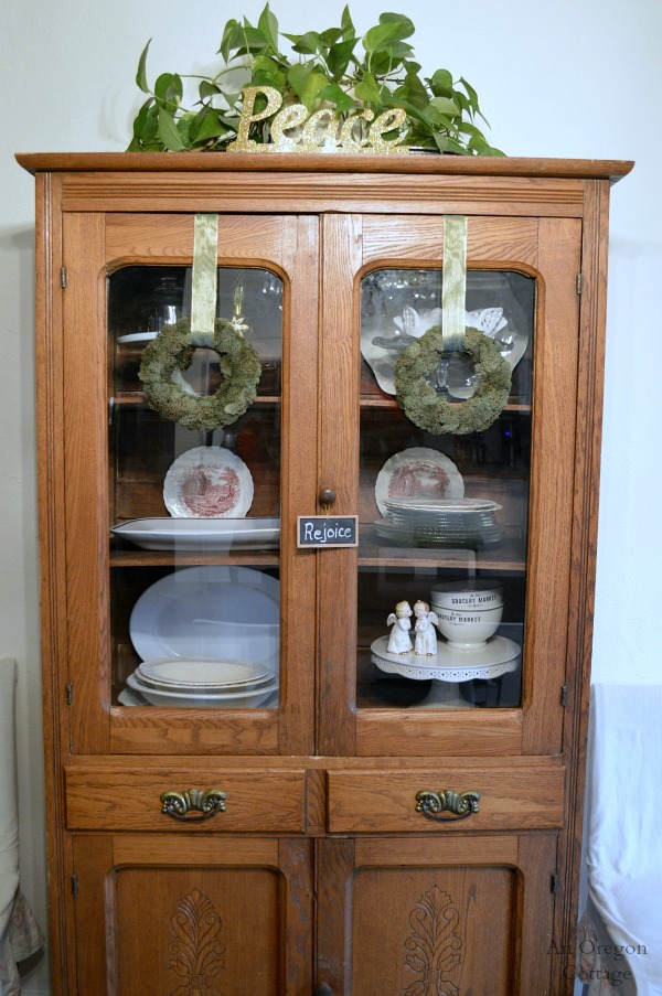 Christmas Decorating Antique China Cabinet  An Oregon