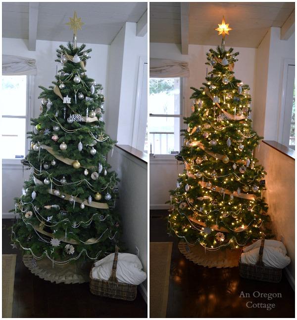 White-Metalic-Burlap Christmas Tree Lit-Unlit