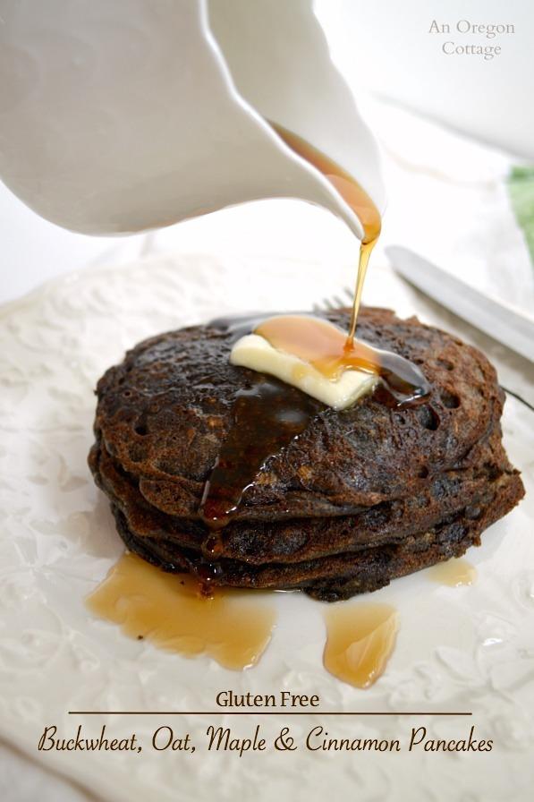 Gluten Free Buckwheat-Oat Maple and Cinnamon Pancakes