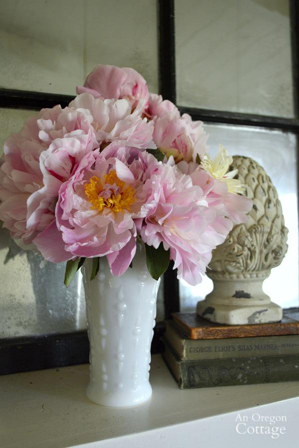 Milk Glass Vase with Peonies