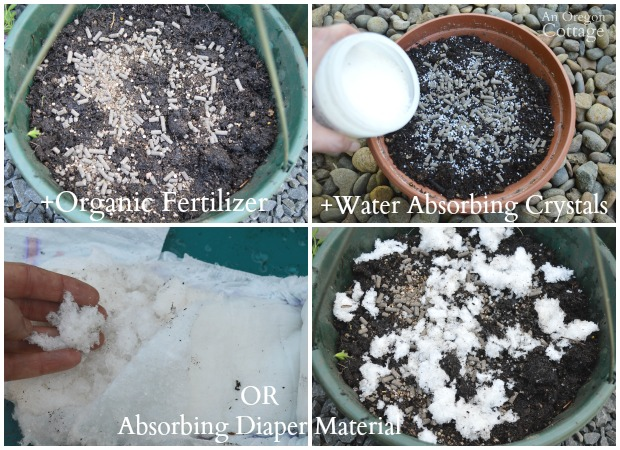 Tips for Planting Flower Pots Organically-Fertilizer and Water Absorbing Crystals