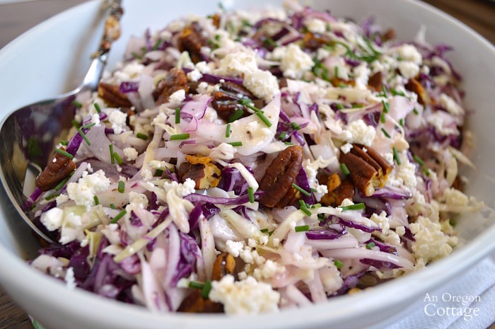 Cabbage Salad with Feta Vinaigrette and Spiced Pecans