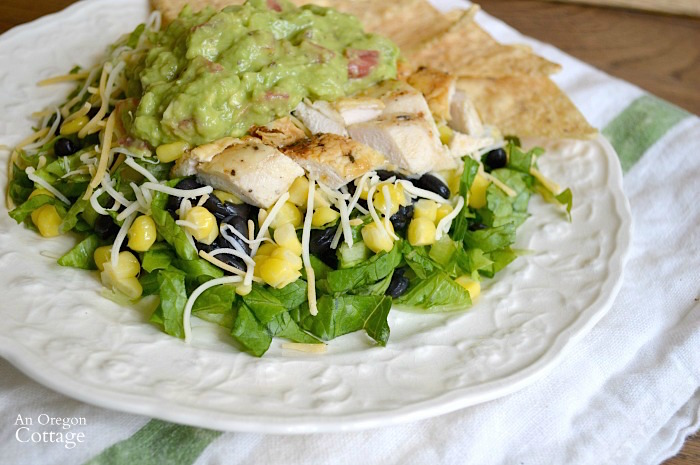 Chipotle Spiced Rubbed Grilled Chicken Salad with Corn and Black Beans