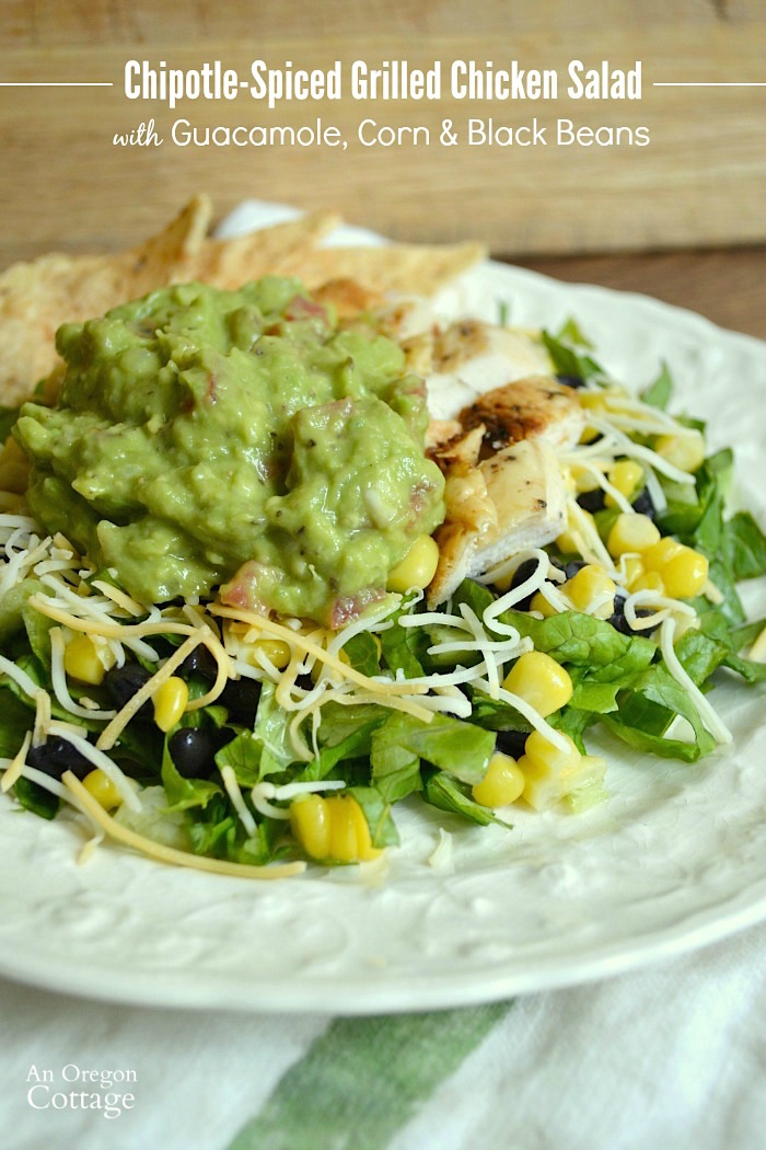 Chipotle Spiced Rubbed Grilled Chicken Salad with Guacamole, Corn and Black Beans