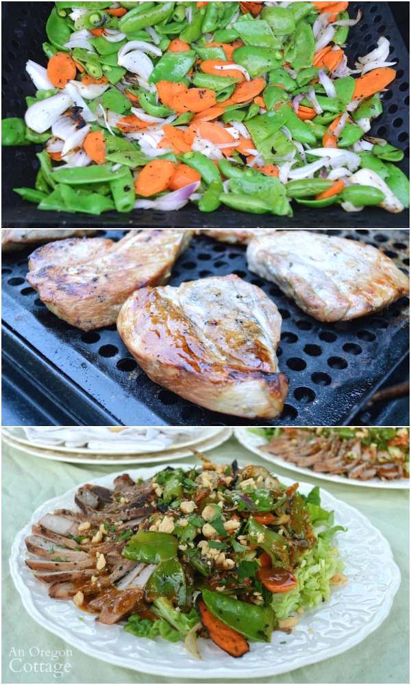 Make a quick and easy, garden to table grilled Thai salad with pork and vegetables