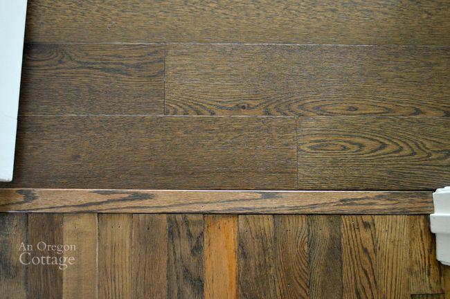 Floating Engineered Hardwood flooring next to reclaimed oak flooring