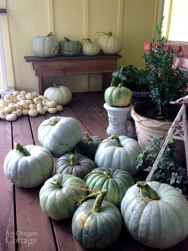 Neutral Pumpkins on Porch