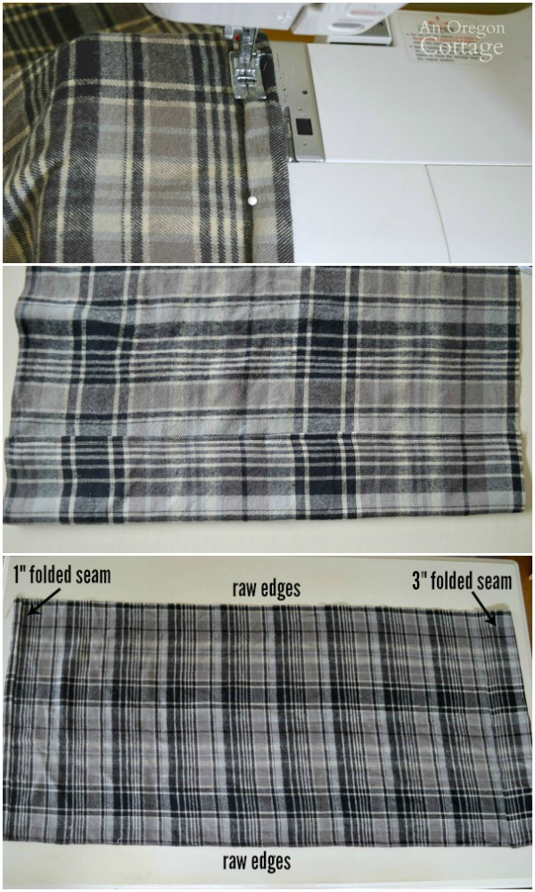 Easy Plaid Envelope Pillow steps 1 to 3