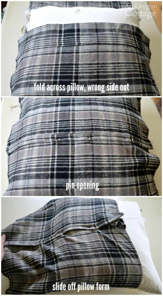 Easy Plaid Envelope Pillow steps 4-6