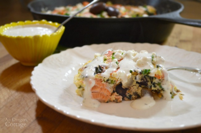 Salmon and Vegetable Frittata with Greek Flavors