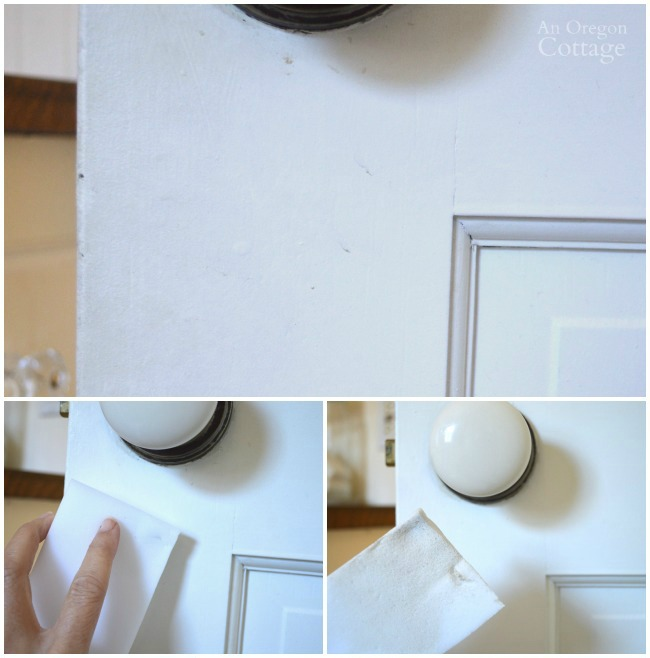 Use a foam eraser to clean bathroom woodwork