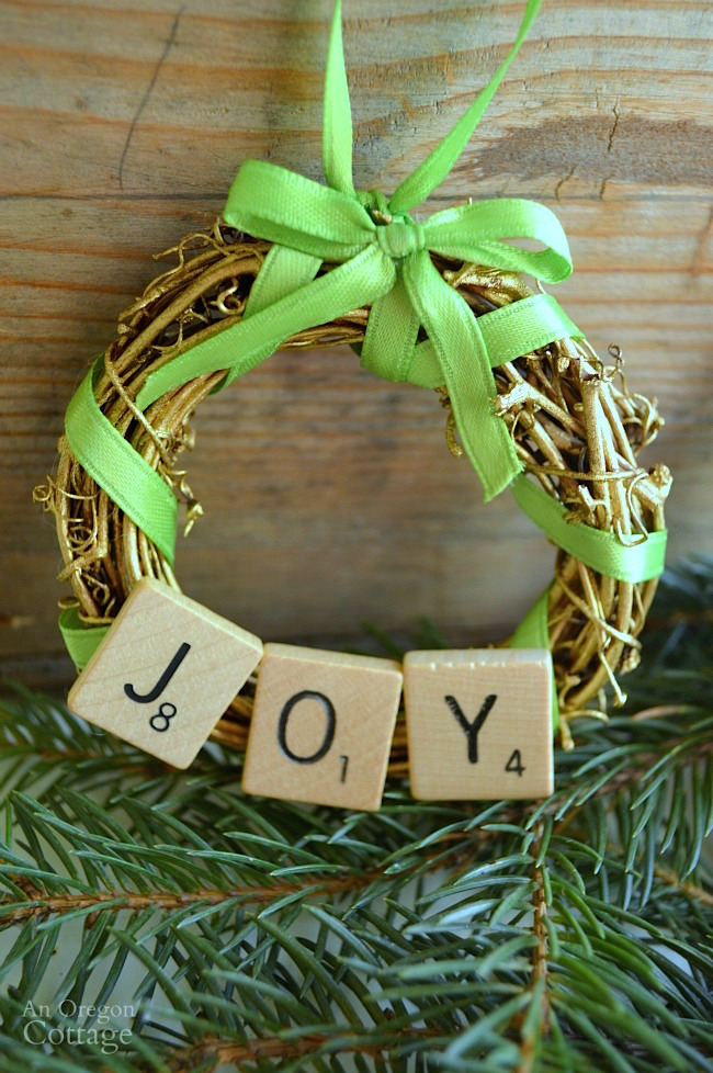 DIY Scrabble Tile Grapevine Wreath Christmas Ornament-Joy